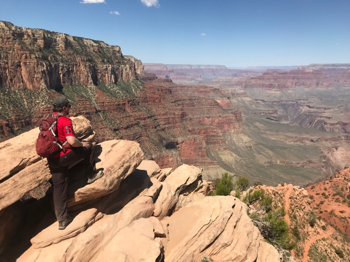 me looking out over the grand canyon on south kaibab trail